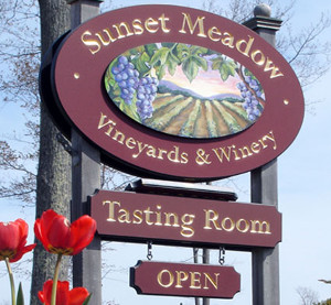 Sunset Meadow Vineyard sign